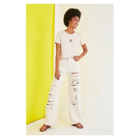 Béžové dámske džínsy bootcut