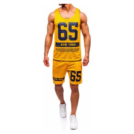 Žltý pánsky komplet: tričko + kraťasy  BOLF 100777 J.STYLE