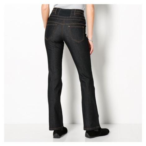 Blancheporte Bootcut džínsy s vysokým pásom, nízka postava čierna