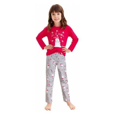 Dievčenské pyžamo Maja červené macko a vločky Taro