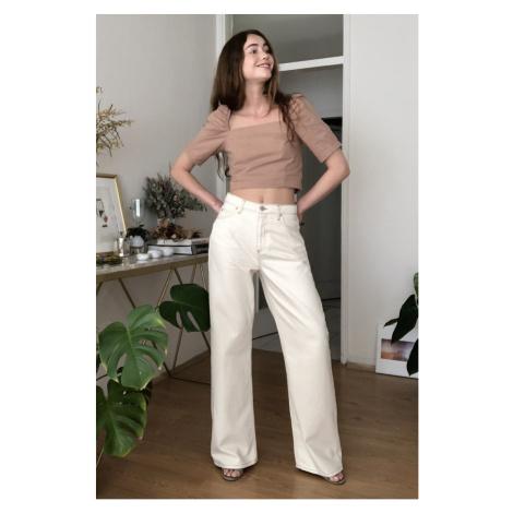 Trendyol Black High Waist Wide Leg Jeans Ecru
