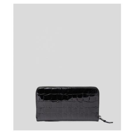 Peňaženka Karl Lagerfeld K/Signature Croco Zip Wallet - Čierna