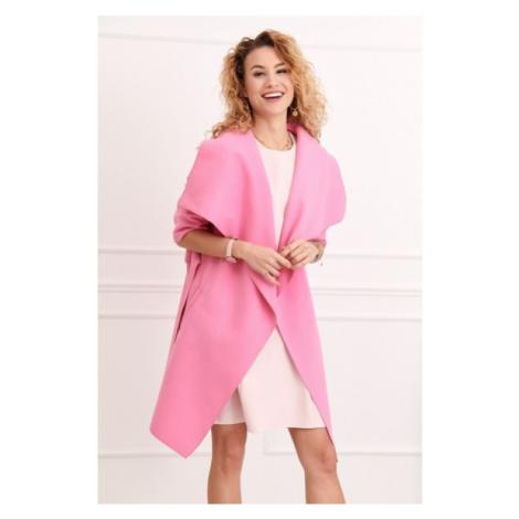 Štýlový kabát s veľkolepým širokým golierom, ružový FASARDI