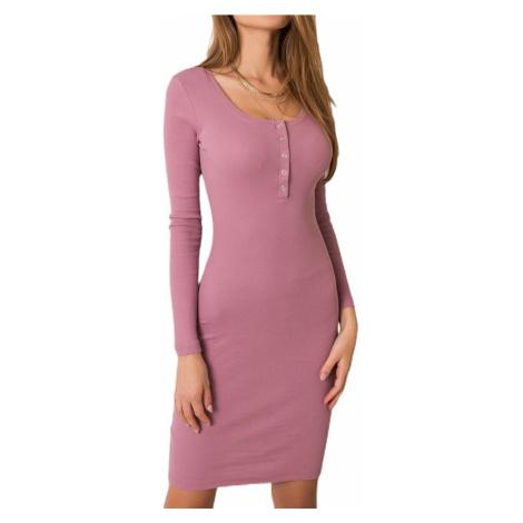 Ružové šaty s dlhým rukávom Rue Paris