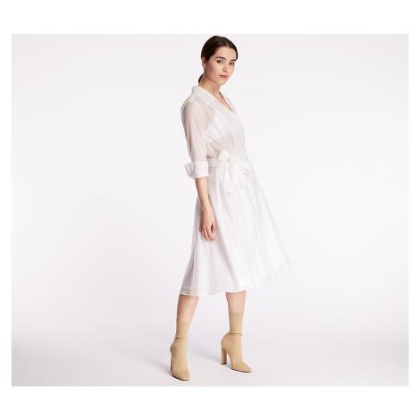 Pietro Filipi Lady's Wrap Dress With Silk White