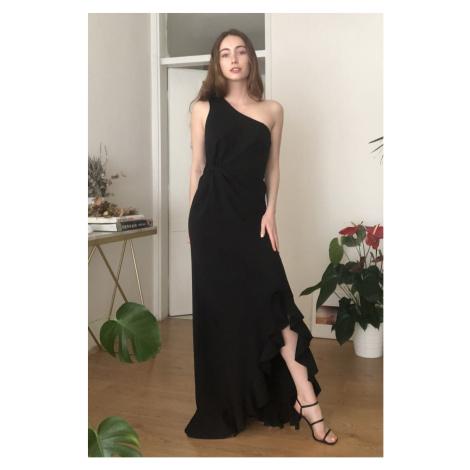 Trendyol Saks Buzgü Detailed Evening Dress & Graduation Dress Black