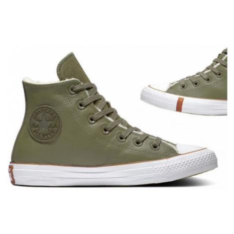 Converse CHUCK TAYLOR ALL STAR FAUX SHEARLING tmavo zelená - Dámske zimné tenisky