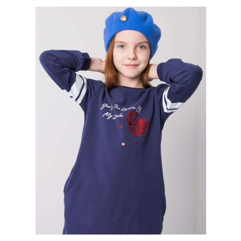 Girls´ navy blue tunic with an inscription
