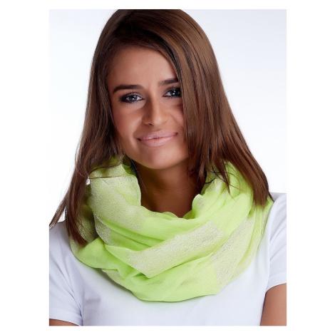 Fluorescent green shawl with shiny thread