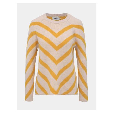 Žlto-ružový vzorovaný sveter ONLY Eliza