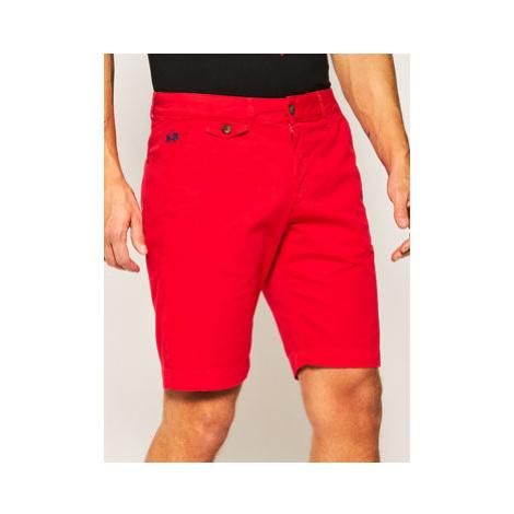 La Martina Bavlnené šortky Chino PMB001 TW187 Červená Slim Fit