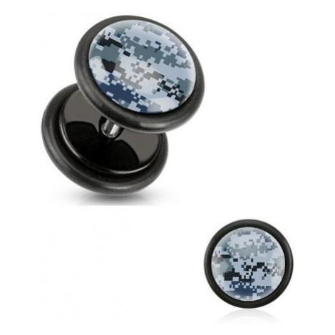 Čierny akrylový fake plug, pixelový maskáčový vzor, čierne gumičky
