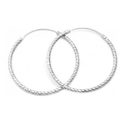 Beneto Luxusné kruhové strieborné náušnice AGUC357 / N 3,5 cm