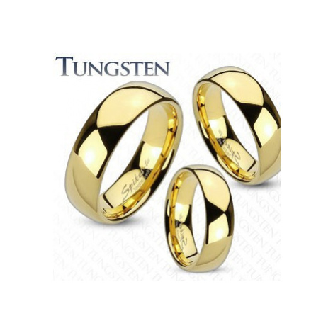 Prsteň z wolfrámu zlatej farby, zaoblený a hladký povrch, zrkadlový lesk, 8 mm - Veľkosť: 70 mm