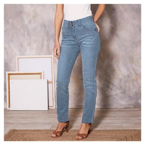 Blancheporte Rovné džínsy v opranom vzhľade zapratá modrá