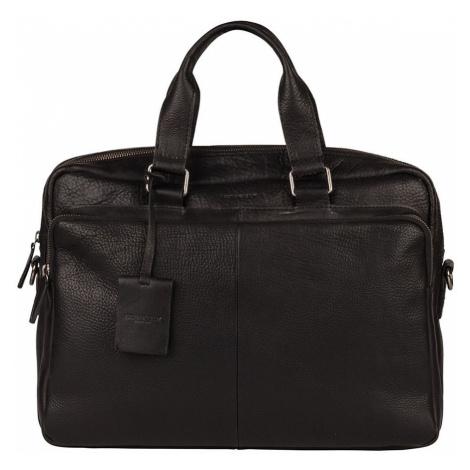 Pánska kožená taška na notebook Burkely Workbag - čierna