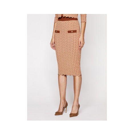 Elisabetta Franchi Puzdrová sukňa GK-19S-06E2-V269 Hnedá Slim Fit