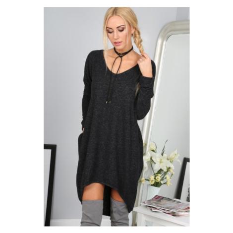 Štýlové čierne asymetrické šaty FASARDI