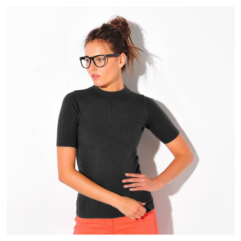 Blancheporte Vrúbkovaný jednofarebný pulóver s krátkym rukávom čierna