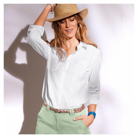 Blancheporte Košeľa s anglicku výšivkou biela