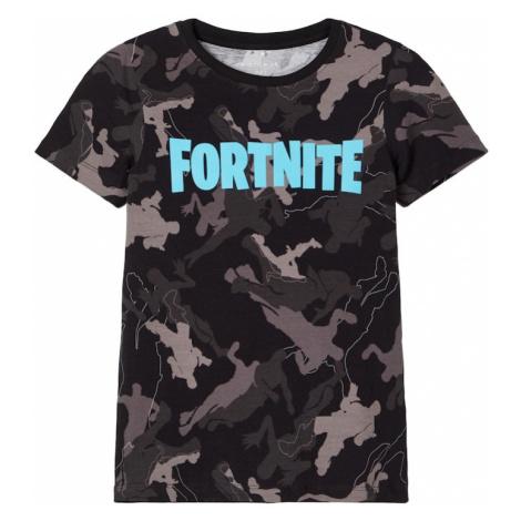 NAME IT Tričko 'FORTNITE'  čierna / antracitová / sivá / modrozelená