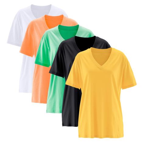 Dlhé tričko, V-výstrih (5 ks), krátky rukáv bonprix