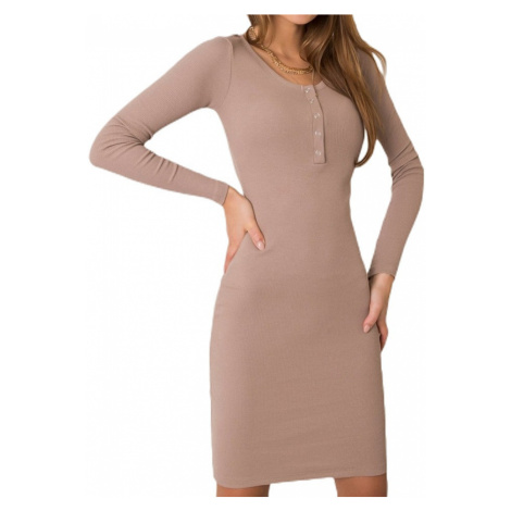 Béžové šaty s dlhým rukávom Rue Paris