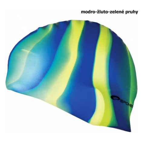 Plavecká čiapka SPOKEY Abstract - modro-žlto-zelené pruhy
