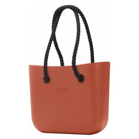 O bag kabelka Terracotta s čiernymi dlhými povrazmi