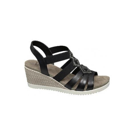 Čierne komfortné sandále na klinovom podpätku Easy Street