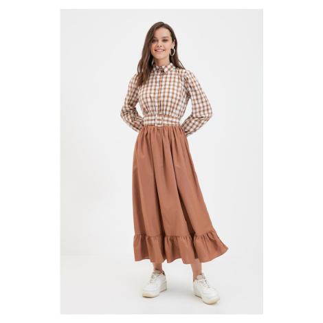 Trendyol Brown Shirt Collar Dress