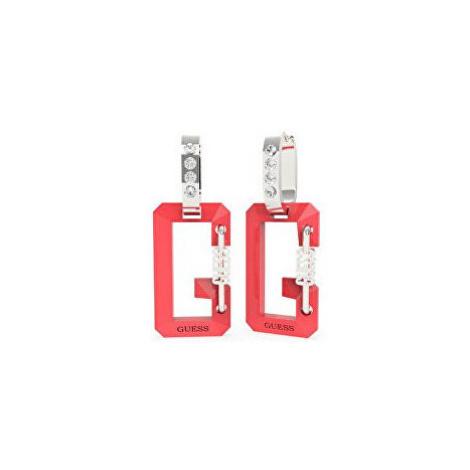 Guess Oceľové bicolor náušnice s prívesky G Snap UBE70084