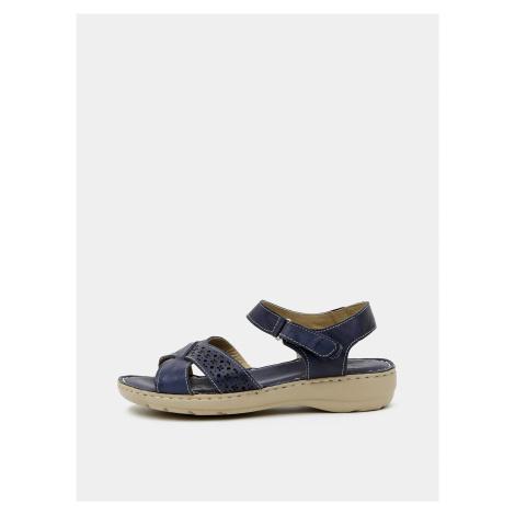 Tmavomodré dámske kožené sandále WILD