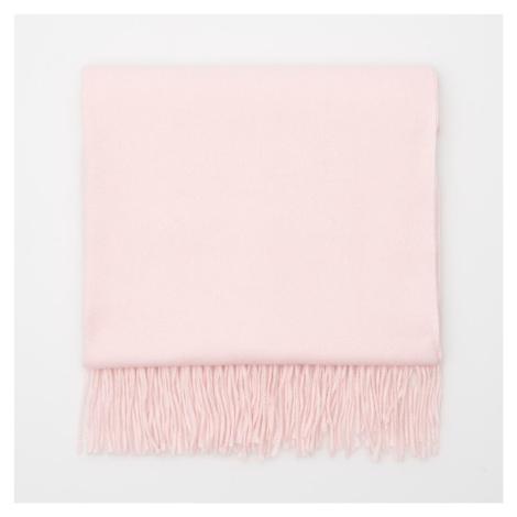 Cropp - Hladký šál so strapcami - Ružová
