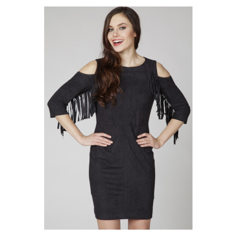 Čierne semišové šaty ASU0022 Ambigante