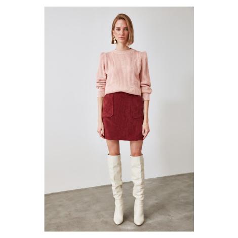Trendyol Burgundy Velvet Skirt