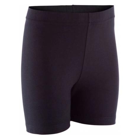 DOMYOS Dievčenské šortky 100 na cvičenie čierne ČIERNA 123-130cm 7-8R