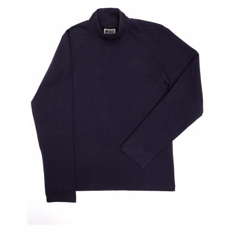 Children´s navy blue cotton blouse with turtleneck