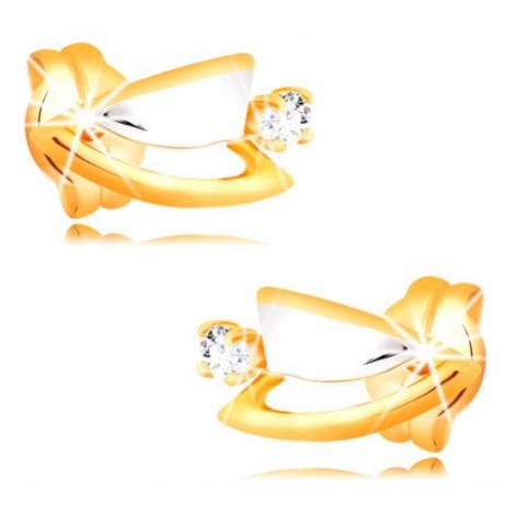 Diamantové náušnice zo 14K zlata - dvojfarebné trojuholníčky, číry briliant