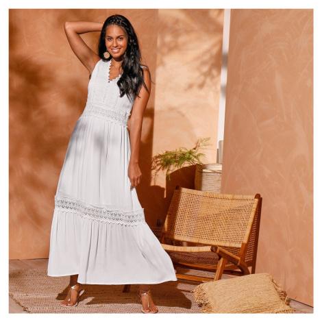 Blancheporte Dlhé šaty bez rukávov biela