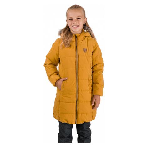 Horčicový dievčenský prešívaný kabát SAM 73