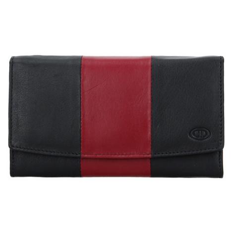 Dámska kožená peňaženka DD Anekta Alena - čierno-červená