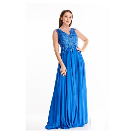 Plesové šaty s vyšívaným vrchom modré