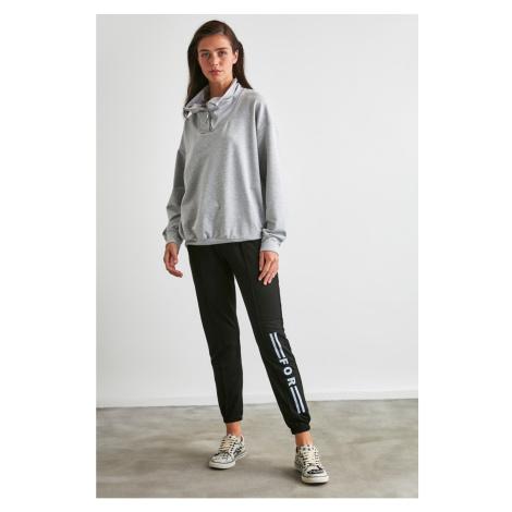 Trendyol Black Printed Knitted Tracksuit bottom