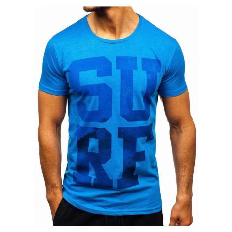 Modré pánske tričko s potlačou BOLF 1240