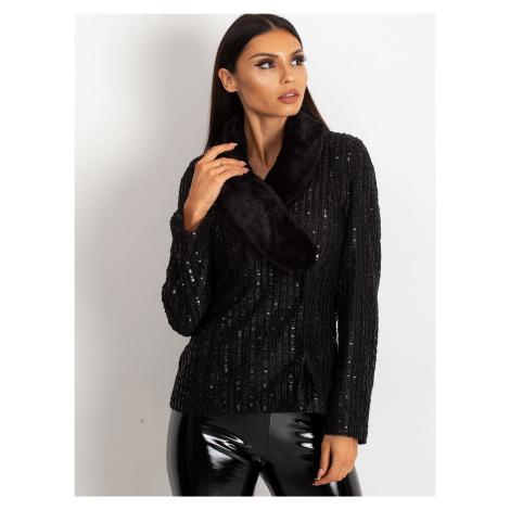 Čierna dámska bunda s kožušinou