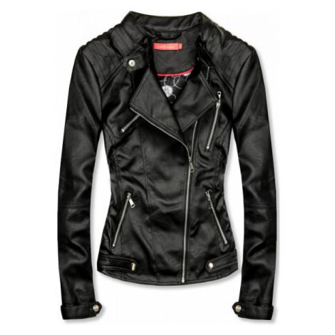 Koženková bunda v čiernej farbe