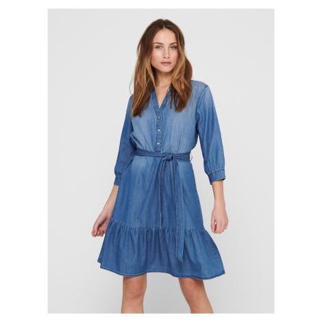 Modré rifľové košeľové šaty Jacqueline de Yong Sille