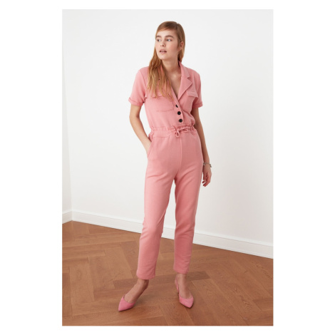 Trendyol Pink Pocket Detailed Knitted Coverall