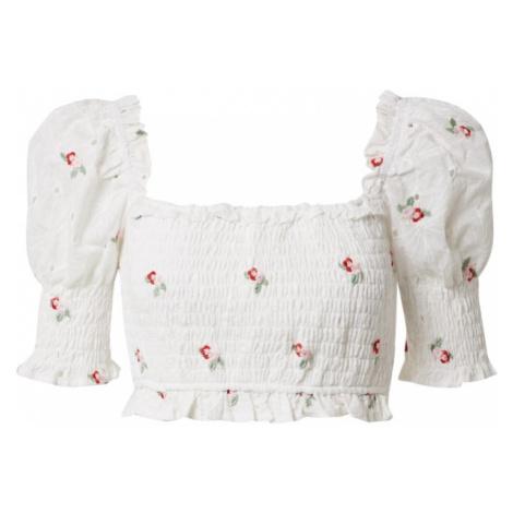 Missguided Blúzka 'Broderie Floral Shirred Crop Top'  biela